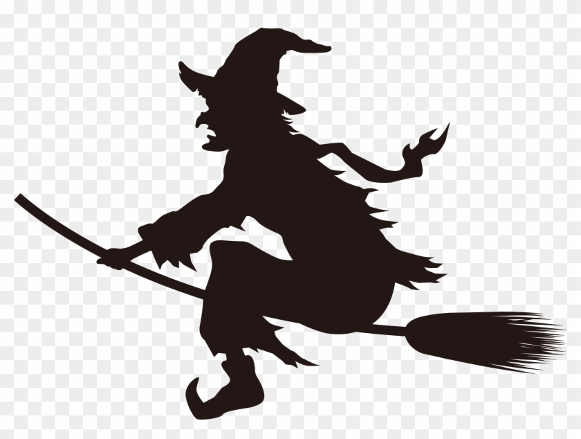 Halloween Witch On Broom Silhouette Png Clip Art Image Witch On Broom Png Transparent Png 8000x5637 48738 Pngfind