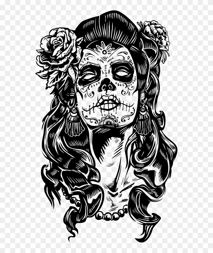 Outlaw Tattoo Design Drawing Day Of The Dead La Catrina Hd Png Download 561x919 400679 Pngfind Continuous one line drawing of abstract face minimalism good for poster and tattoo design. outlaw tattoo design drawing day of