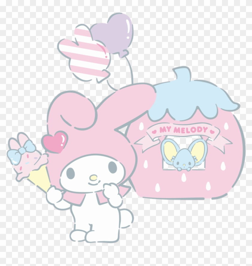 Mymelody Melody Mouse Icecream Pink Cute Balloon Strawb Cartoon Hd Png Download 836x807 4084726 Pngfind