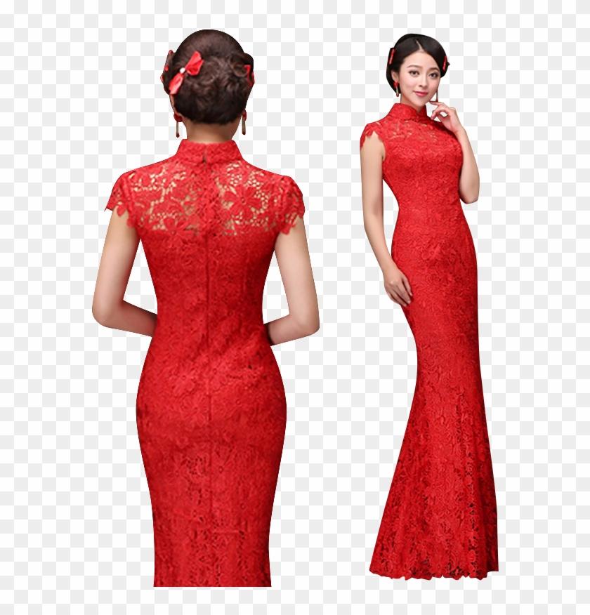 fa103bbdbde Axm-16229 Mandarin Collar Cap Sleeve Mermaid Cheongsam - Traditional Chinese  Dress Transparent