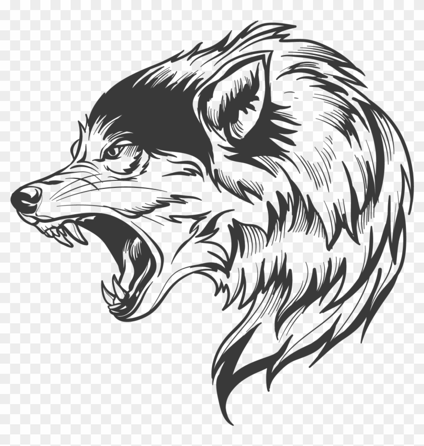 Wolf head. Drawing clipart poster plantillas