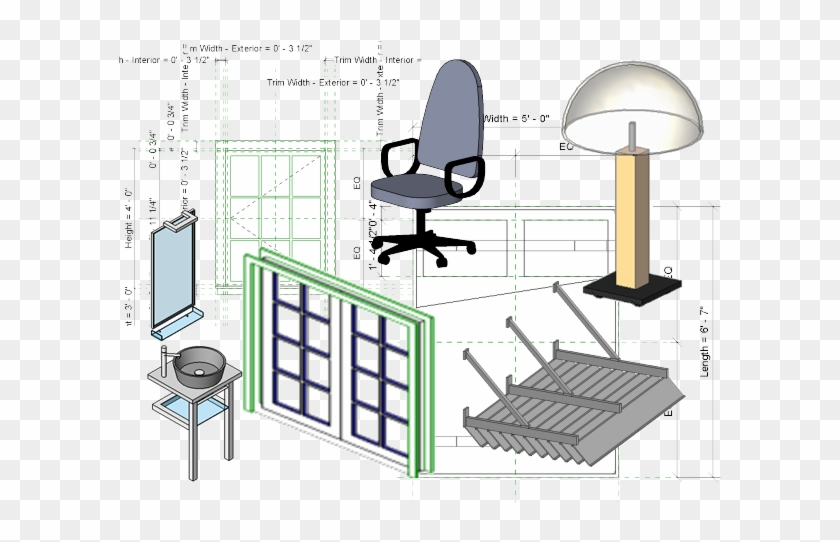 Revit Architecture Families - Office Chair, HD Png Download