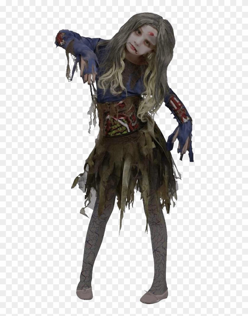 Halloween Girl Zombie Transparent Background - Halloween Costume