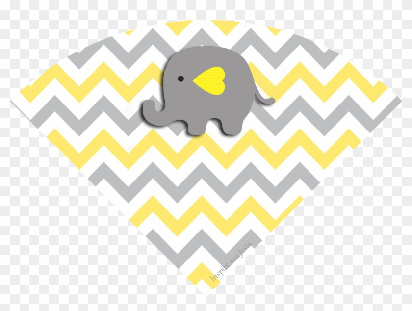 photograph regarding Free Printable Elephant Baby Shower referred to as Boy or girl Elephant Inside Gray And Yellow Chevron Cost-free Printable