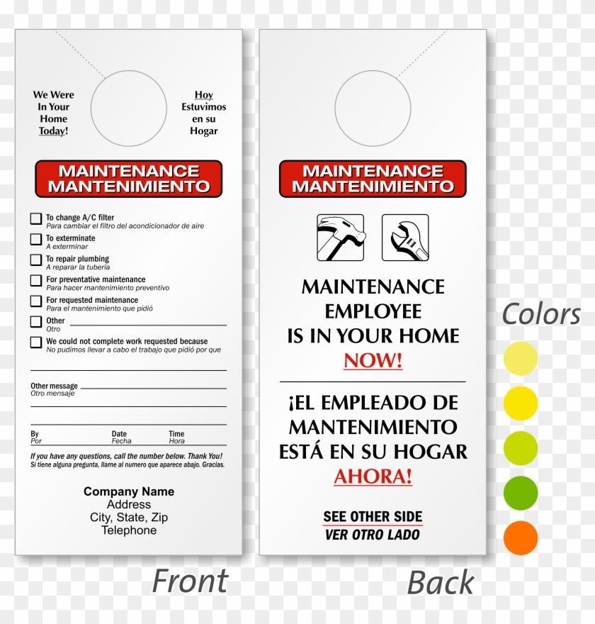Maintenance Door Hangers 2610 Sorry