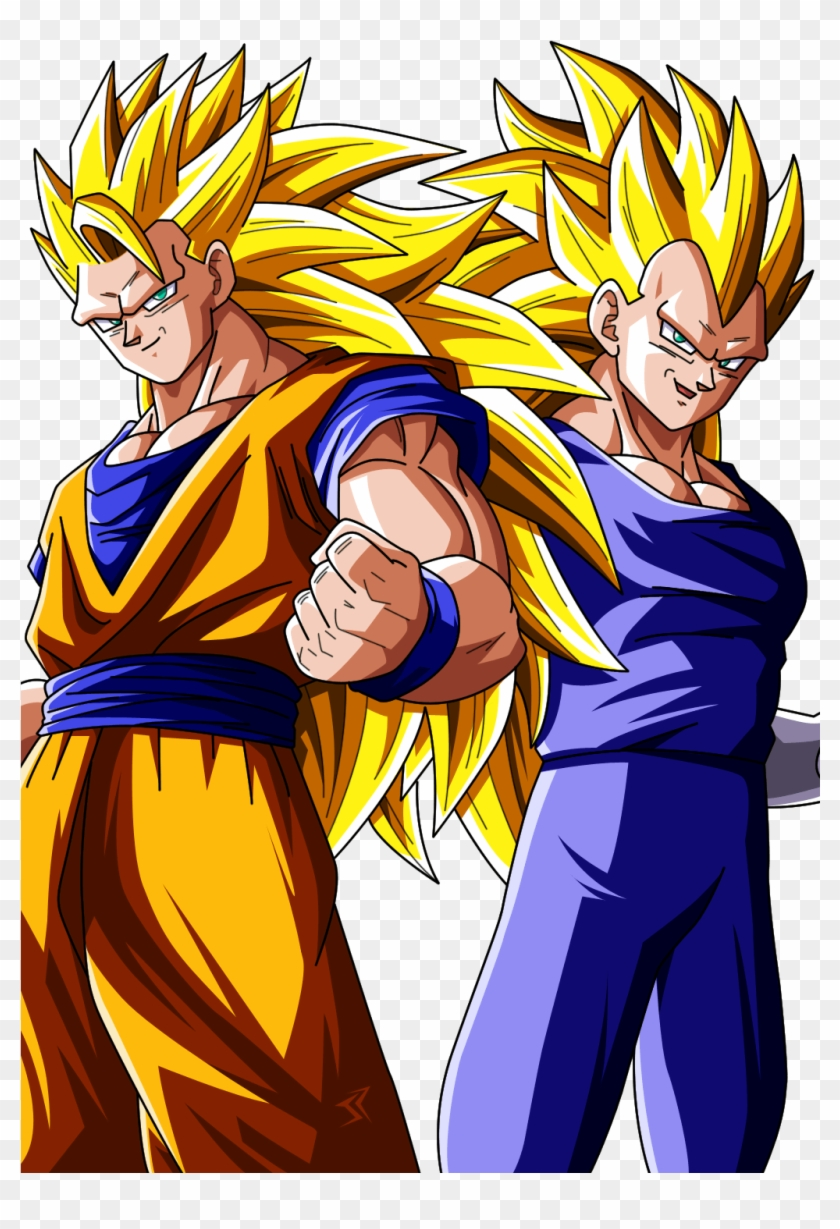 Goku Ssj And Goku And Vegeta Ssj 3 Hd Png Download 739x1080