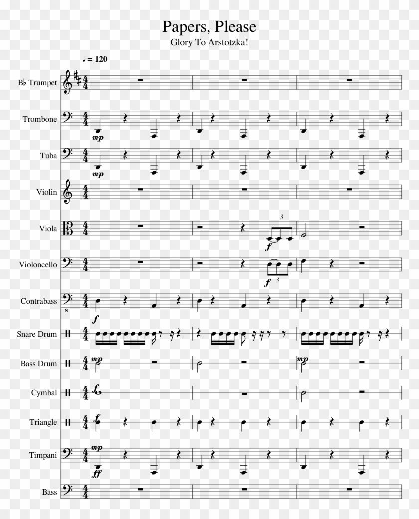 Papers, Please Sheet Music 1 Of 16 Pages - Papers Please