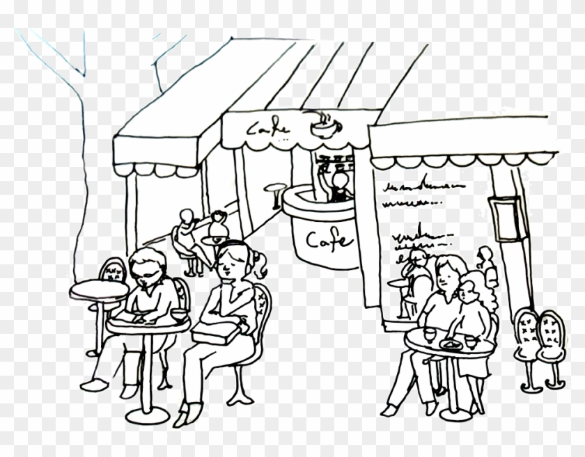 Hand Painting Cafe Outdoor Cafes Cafe Boyama Hd Png Download