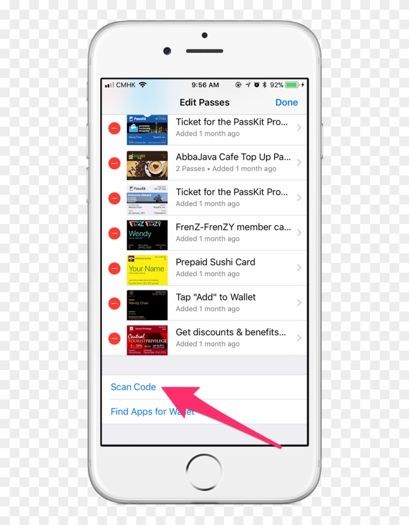 how to scan barcodes on iphone wallet