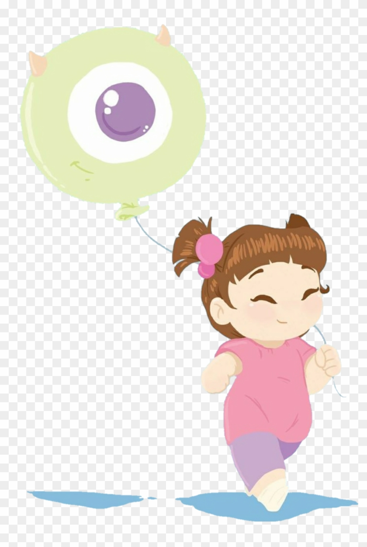 Cute Fanart Drawing Monstersinc Child Balloon Boo Monsters Inc Kawaii Hd Png Download 978x1410 4581353 Pngfind