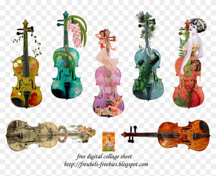 Fantasy Violin Collage Sheet, Collage Art, Collages, - Viola