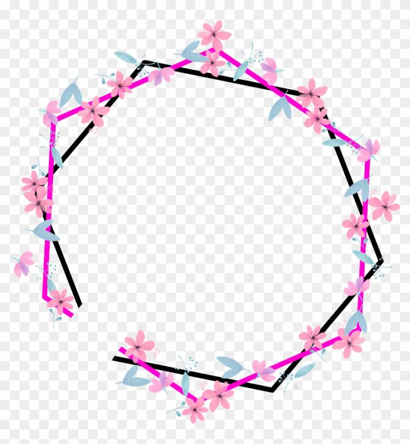 geometric #round #pentagon #neon #border #frame #freetoedit