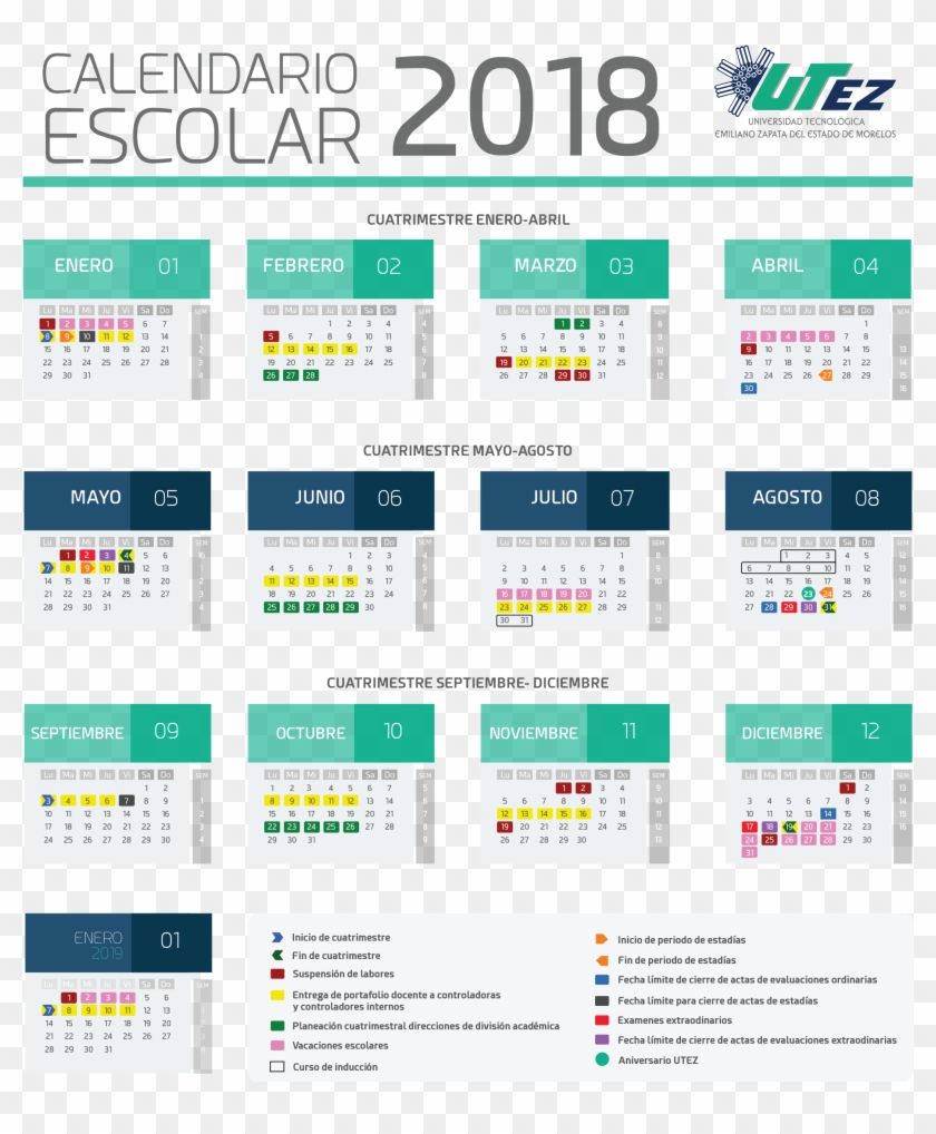 Download Calendario.Calendario Calendario Escolar Utez 2018 Hd Png Download