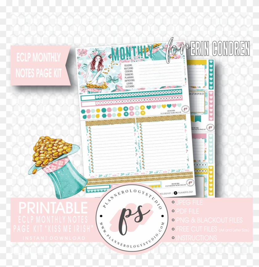 photograph regarding Free Printable Notes Page identified as Kiss Me Irish Regular monthly Notes Web site Package Electronic Printable
