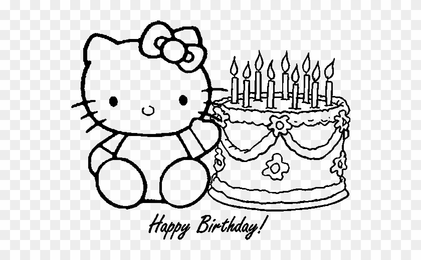 Happy Birthday Coloring Pages 360coloringpages Hello Kitty