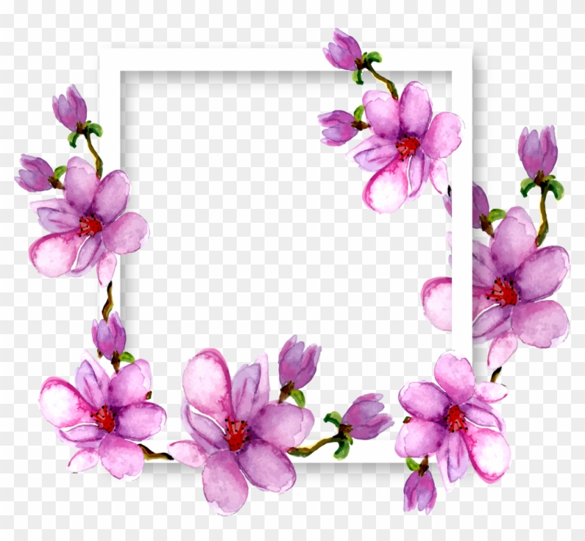 Flowers Magnolia Border Frame Watercolor Purple Ftestic - Borders And Frames Transparent, HD Png Download