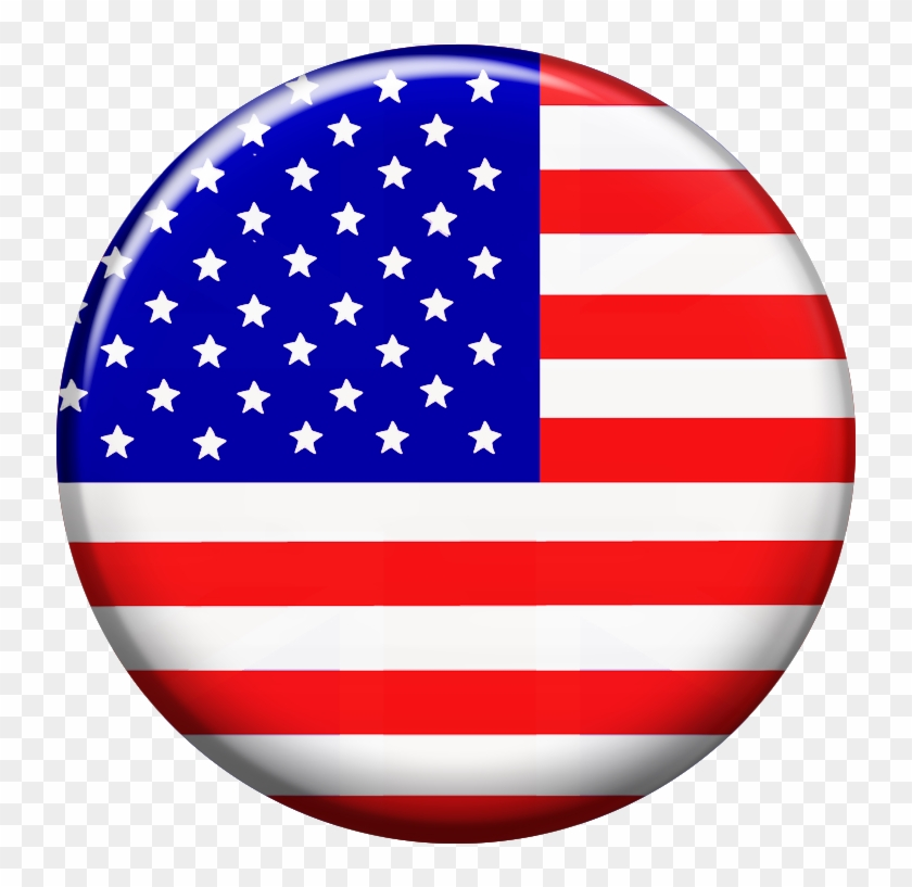 Round American Flag Clipart , Png Download - Usa Flag Button