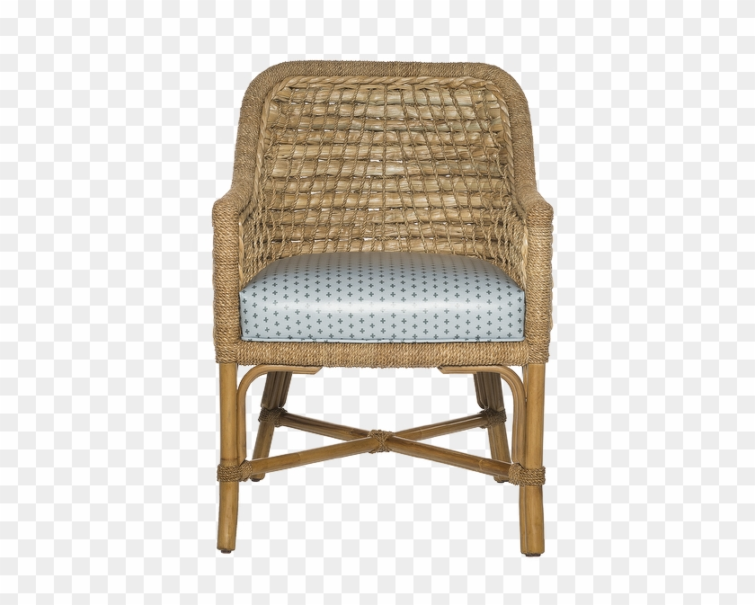 Taylor Curved Woven Seagrass Blue Cushion Arm Chair Chair Hd Png