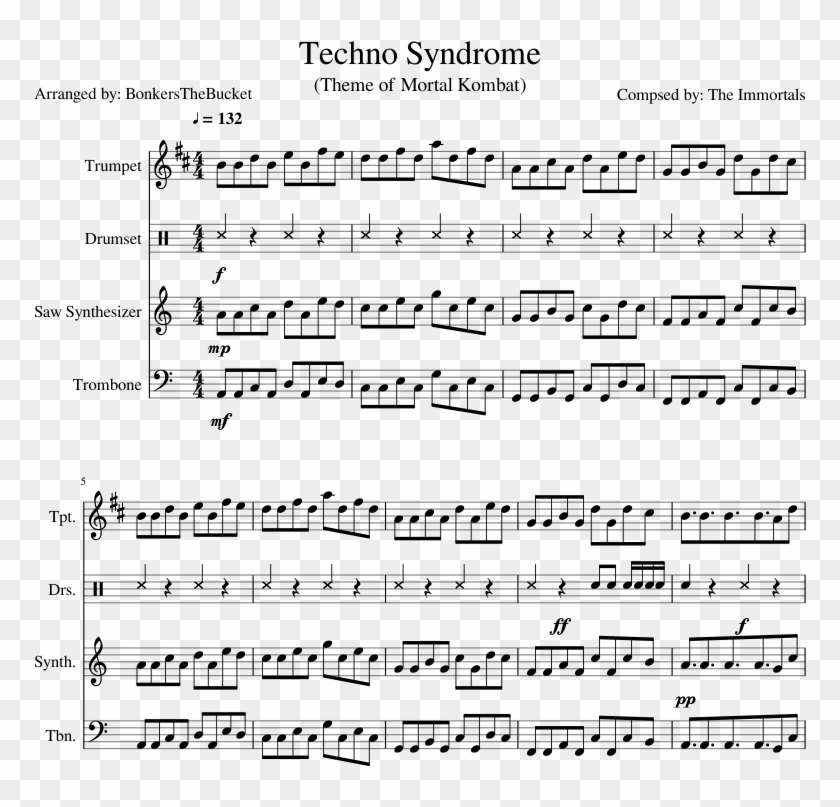 Techno Syndrome Sheet Music Composed By Compsed By - Ocean Man Alto