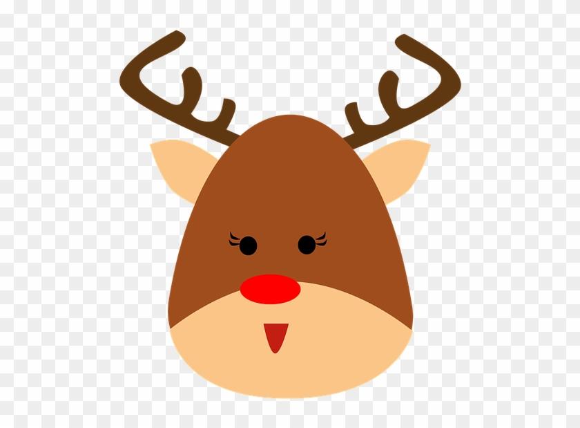 Reno Animales Cuernos Navidad Dibujos Animados Reno