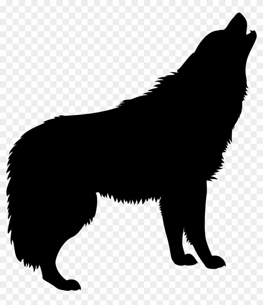 Wolf silhouette. Coyote clipart small howling