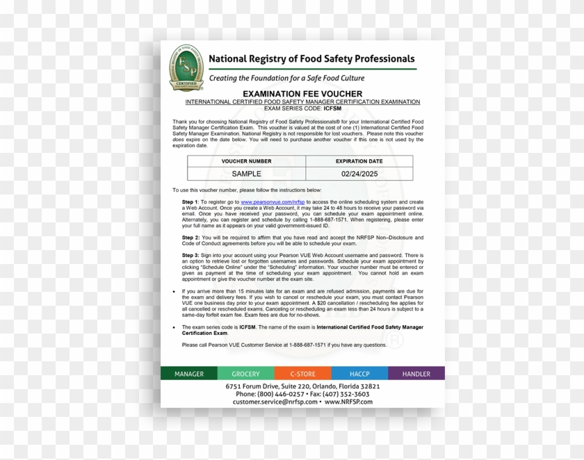 International Certified Food Safety Manager Exam Voucher