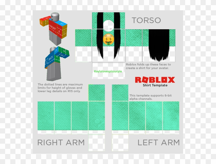 Roblox R15 Shirt Template Transparent - Roblox Shirt Template 2018