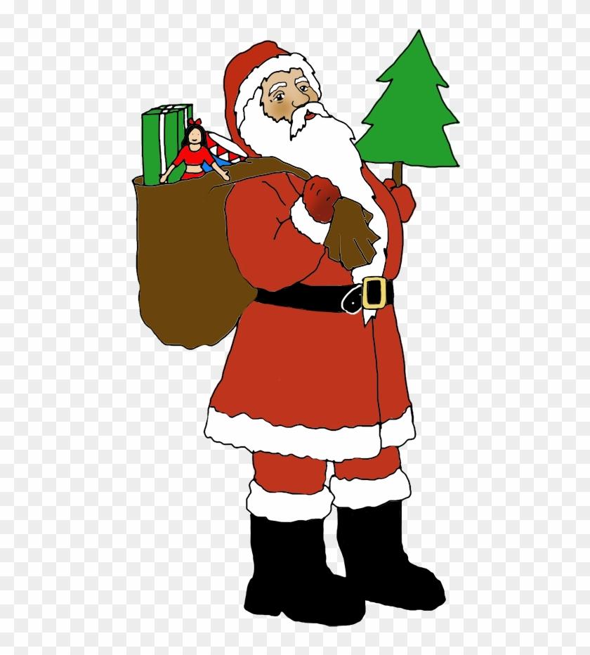 2b20239832374 Santa With Sack And Christmas Tree Clipart Of - Santa Clipart With Christmas  Tree