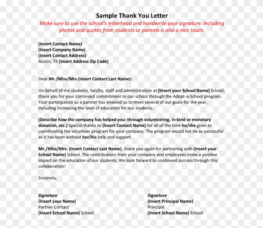 Thank You Letter To Teacher From Parent Sample