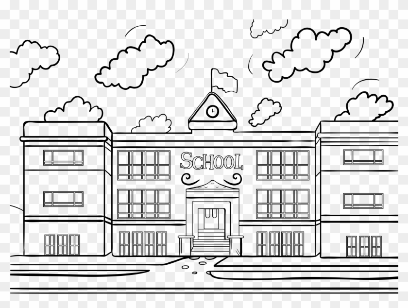 Building Cartoon Transparent Coloring Page, Printable - Drawing Pictures Of  School, HD Png Download - 3300x2334(#5142936) - PngFind