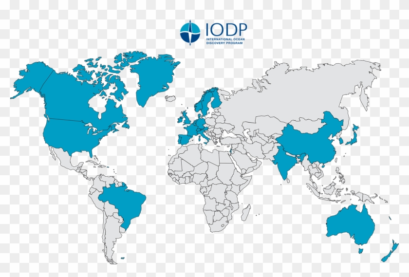 Iodp Member Countries - World Map White Background, HD Png ...