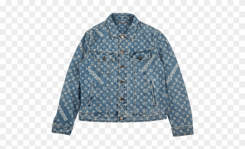Louis Vuitton X Supreme Monogram Denim Jacket Button Hd Png Download 750x450 5501549 Pngfind