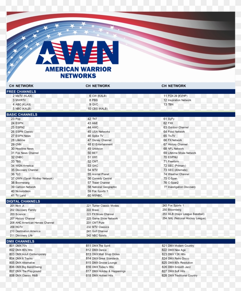 Channel Lineup Warrior Tv - American Warrior Network, HD Png