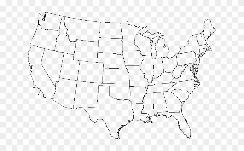 Blank Map Of Usa Png - United States Map Lined, Transparent ...