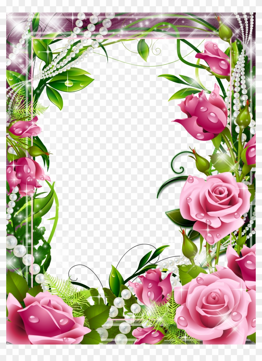 Pink Rose Border Png - Imagenes De Caratulas De Rosas ...