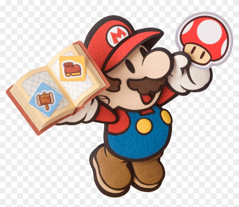 Mario Holding A Book Of Stickers And A Mushroom Sticker