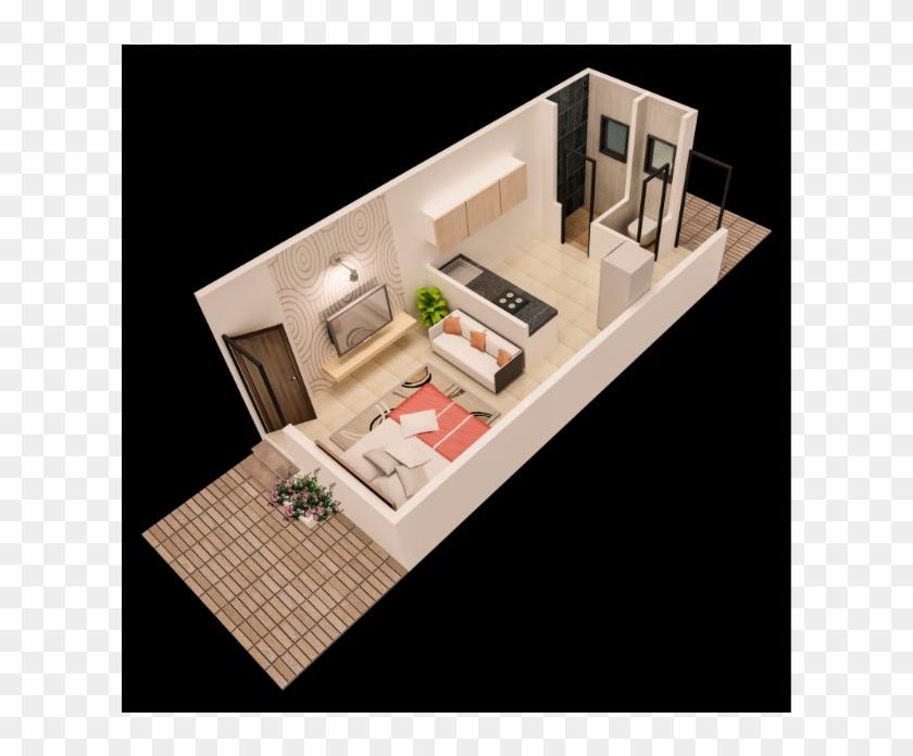 Kalpataru 1 Rk Plan - 1 Rk Interior Design, HD Png Download