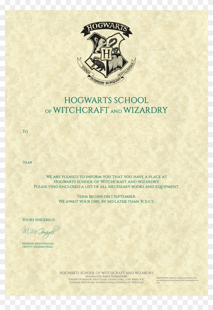 21 X 21 21 - Personalised Hogwarts Acceptance Letter Template With Regard To Acceptance Card Template