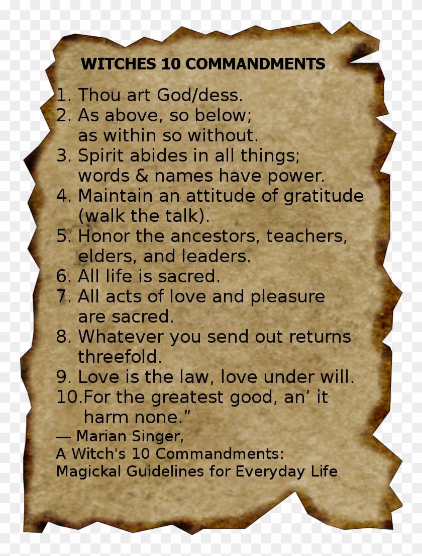 Witches 10 Commandments Transparent Burnt Parchment Paper Png