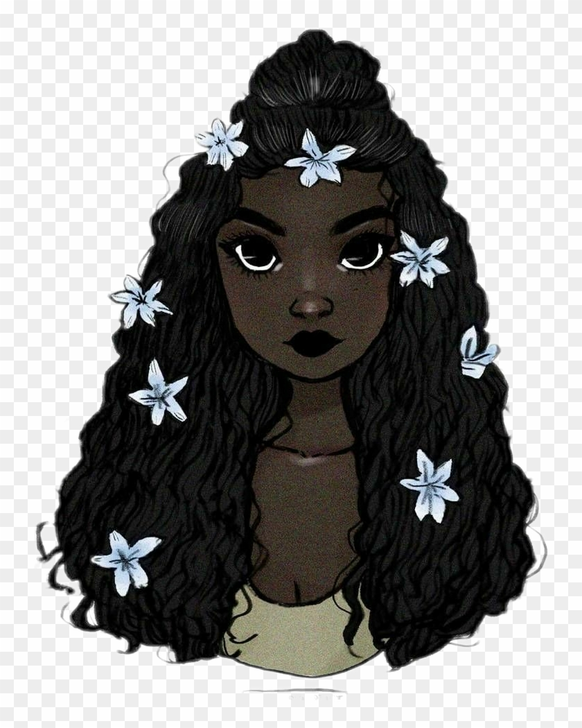 Girl Black Curlyhair Flower Crown Draw Black Girl With Crown Drawing Hd Png Download 742x970 6080961 Pngfind