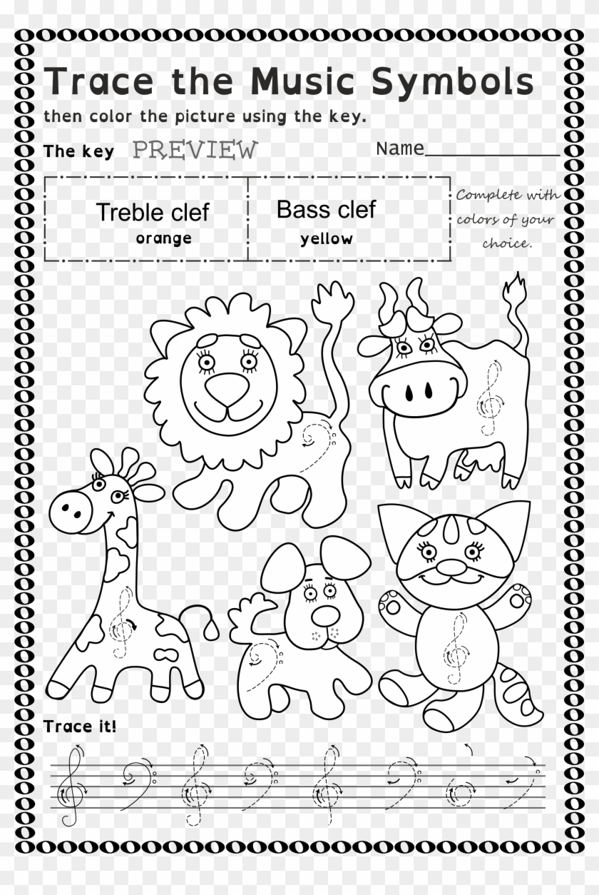 Funny Worksheets To Trace Basic Music Symbols For Younger