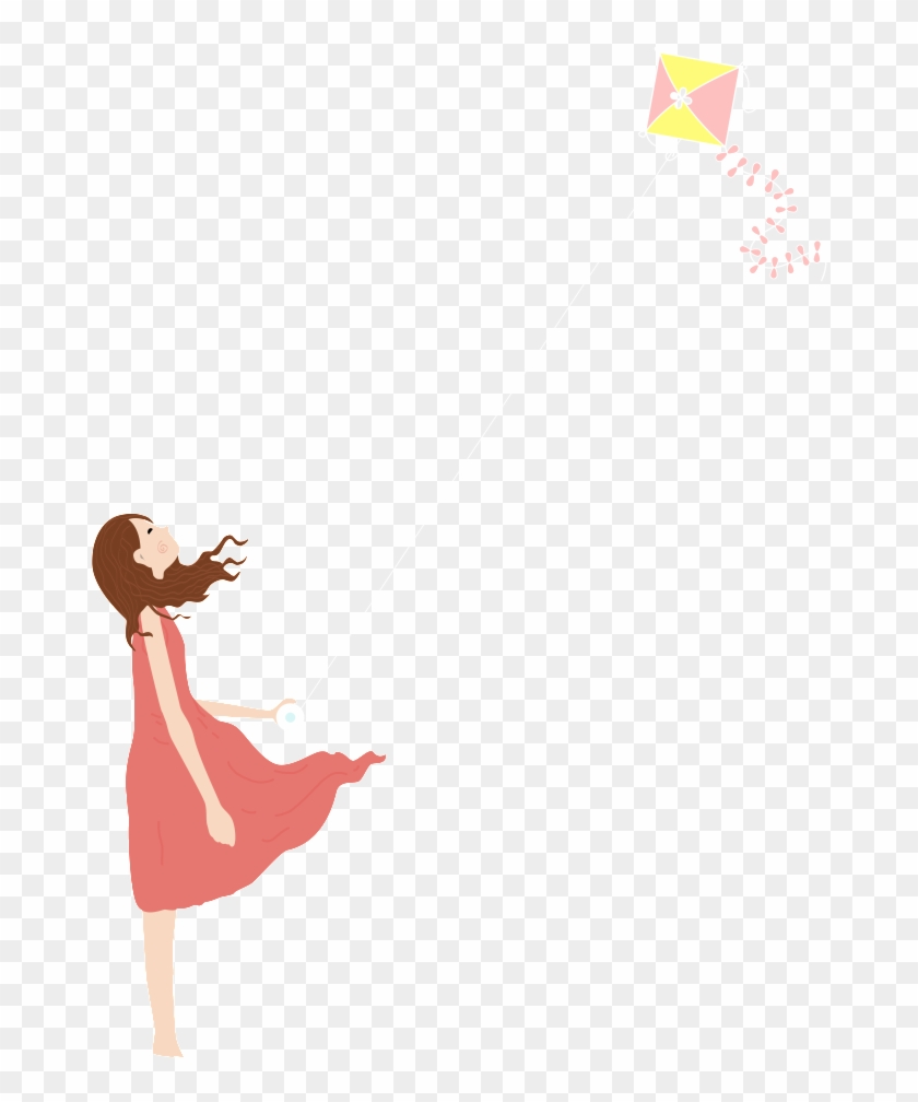 Hand Painted Girl Flying Kite Png Kite Transparent Png