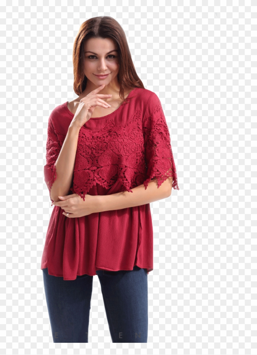 d7573f2a9711a Unomatch Women Evening Style Lace Decorated Shirt And - Photo Shoot, HD Png  Download