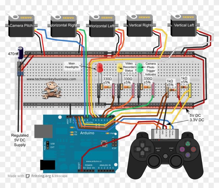 Ps2 Controller - Arduino Ps2 Joystick Servo, HD Png Download