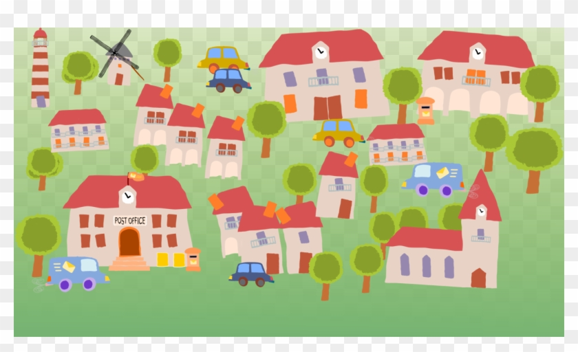 Village Cartoon House Child Art Village Clipart Hd Png