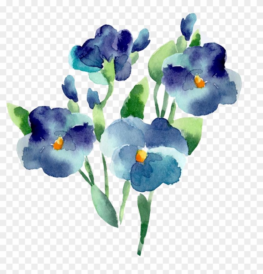 1024 X 1024 3 0 - Watercolour Flower Blue Png, Transparent