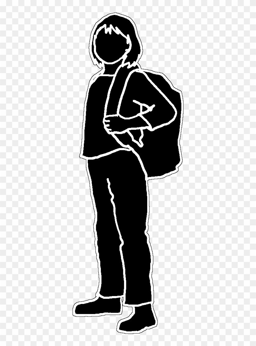 Black outline silhouette school girl black white school girl silhouette png transparent