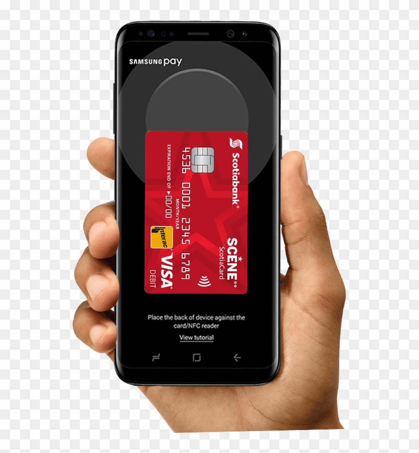 Hand Holding Mobile Phone With Samsung Pay App - Samsung Mobile Hand