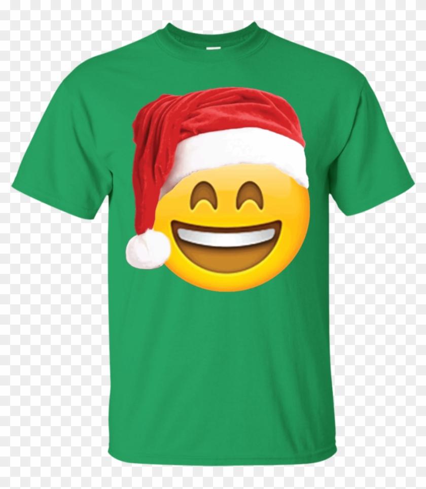 Emoji Christmas Shirt Smiley Face Santa Hat Family