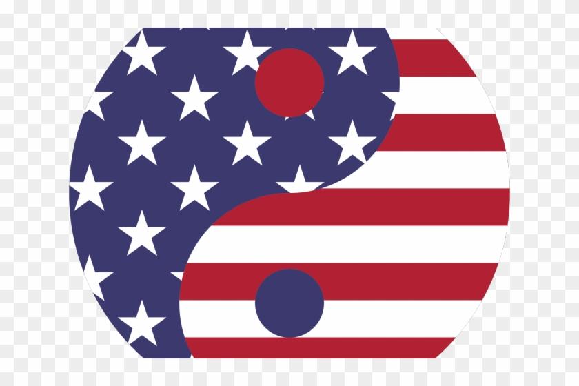 Illusion Clipart American Flag - Russia Usa Yin Yang, HD Png